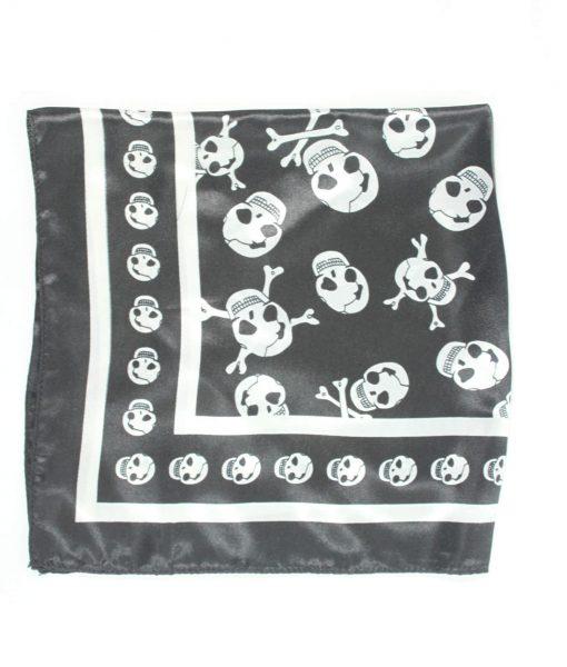 Halstuch Totenkopf schwarz-weiß