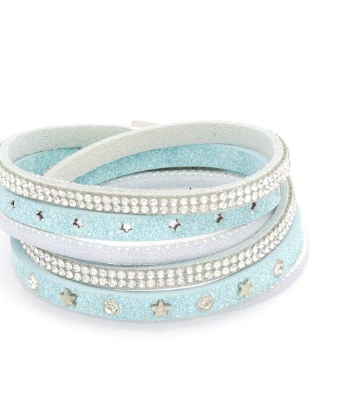 Wickelarmband Sterne hellblau