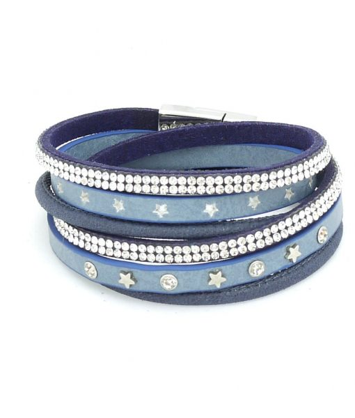 Wickelarmband Sterne jeansblau