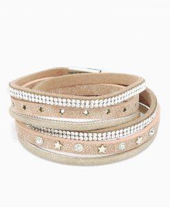 Wickelarmband Sterne rosé-beige