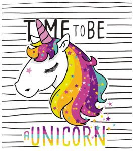 Gemaltes Einhorn mit Spruch Time to be a Unicorn