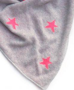 Zwillingsherz Dreieckstuch neon pinke Sterne grau