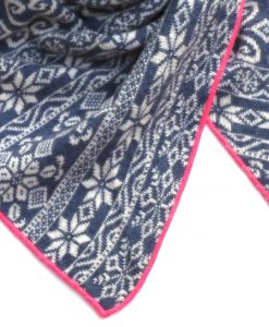 Zwillingsherz Dreieckstuch Norweger Muster blau