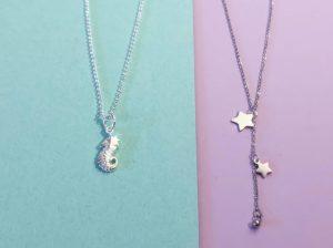 Kette Silber Seepferdchen, Kette Edelstahl Sterne