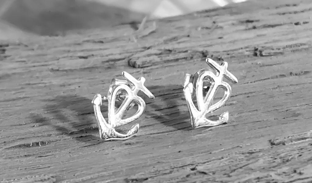 Silber Ohrringe Anker Kreuz Herz